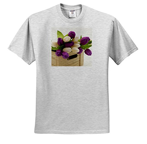 3dRose Sven Herkenrath Nature - A Bouquet of Beautiful Violet and White Tulips in a Wooden Box - T-Shirts - Adult Birch-Gray-T-Shirt Large - Bouquet Light Tulip 20