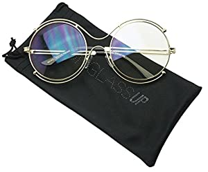 Round Double Metal Wire No Prescription Oversized Sunglasses Clear Lens Gold Circle Frame Glasses