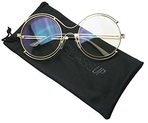 Extra Large Unisex Modern Non-Prescription Retro Round Double Metal Wire CLear Lens Fashion Frame Glasses (Gold, - Prescription Non Glasses Stylish