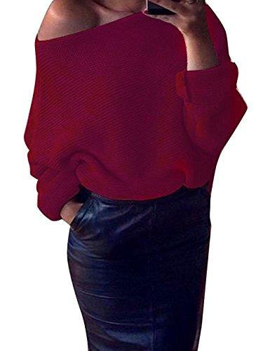 Minetom Mujeres Suéter Jerseys Redondo Cuello Pullover Casual Largo De La Manga Suelto Blusa Suéter Jerseys Vino rojo