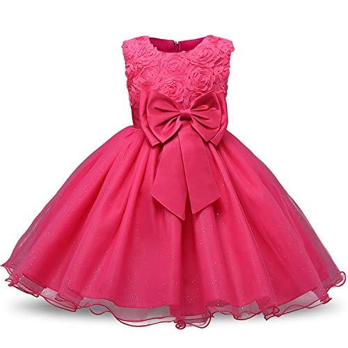Flower Sequins Princess Toddler Girl Dress Summer 2018 Christmas Party Tutu Tulle Dresses for Children 2 3 4 5 Birthday,Rose -