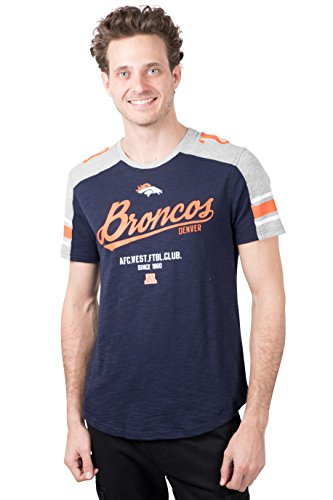 NFL Denver Broncos Men's T-Shirt Varsity Stripe Short Sleeve Tee Shirt, Small, Navy