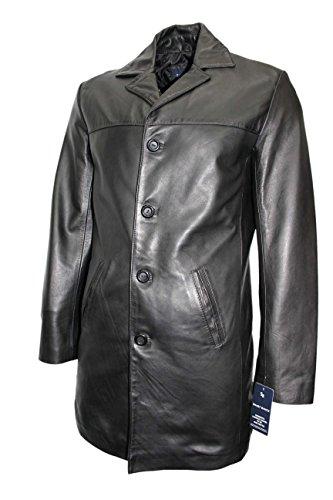 Nouveau modèle 3476 couleur Noir Veste Pour hommes 4 boutons BLAZER classique au genou longueur glaçage vert veste en cuir d'agneau