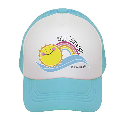 JP DOoDLES Hello Sunshine and Rainbow on Kids Trucker Hat. Available in Baby, Toddler, and Youth Sizes. (Teal, Adult)