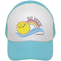 JP DOoDLES Hello Sunshine and Rainbow on Kids Trucker Hat. Available in Baby, Toddler, and Youth Sizes.