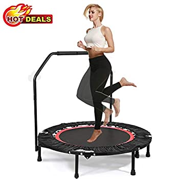 Image of Fitness Trampolines 40' Folding Portable Trampoline with Adjustable Handrail for Exercise Max Load 300lbs Design for Kids Girls Boys Teens Youths Adults Indoor Outdoor Home Gym
