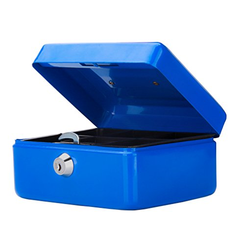 Small Cash Box with Key Lock, Decaller Portable Metal Money Box with Double Layer & 2 Keys for Security, Blue, 6 1/5