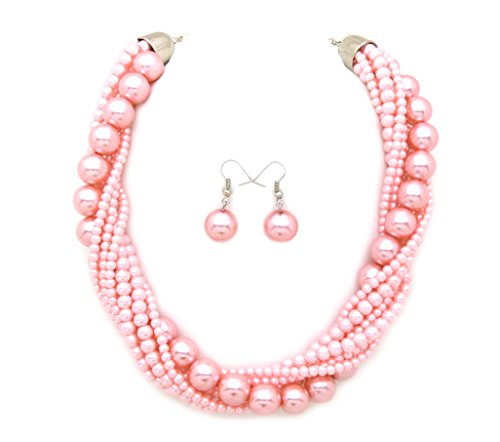 Fashion 21 Women's Twisted Multi-Strand Simulated Pearl Statement Necklace and Earrings Set (Pink Tone) (Trendy Pearl Set)