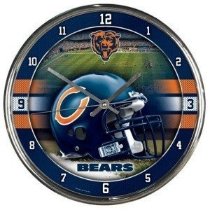 Chicago Bears Round Chrome Wall Clock by Hall of Fame Memorabilia - Wincraft Chicago Bears Clock