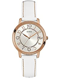 Guess Watches Women's Guess Women's Leather White-Rose Gold Watch
