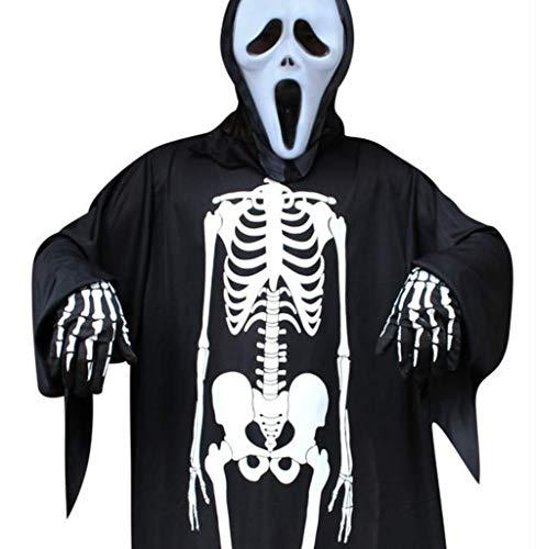 Elanbest Halloween Costume Adult Skeleton with Gloves Unisex for Women Men Boy Girl