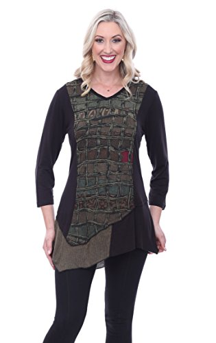 Sage V-neck Shirt (Parsley & Sage Linda Asymmetric 3/4 Sleeve V-Neck Fancy Tunic Geometric Pattern)