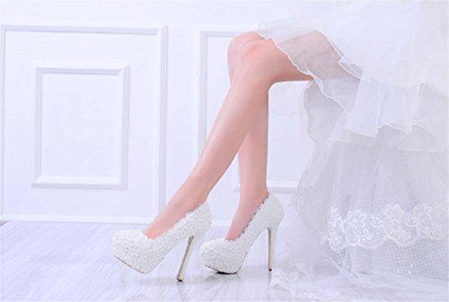 MNII Womens Flowers Lace Braut Brautjungfern Court Schuhe Hochzeit Party Abend Plattformen High Heel- gute Qualität White