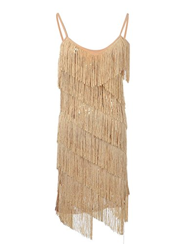 PrettyGuide Women Sequin Fringe 1920s Flapper Inspired Party Latin Dress Gold M - Flapper Fringe Dress