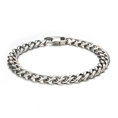 FIBO STEEL 8 mm Wide Link Curb Chain Bracelet for Men Women Stainless Steel High Polished,8.5'' Silver-Tone