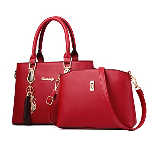 Handbag Purse Zipper Tote Fashion Bag Set Shoulder Cross Women's Red Leather BOFUTE Body 2 of cOfC4Zqw