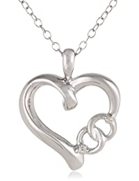 Sterling Silver Diamond-Accent Heart Pendant Necklace, 18""