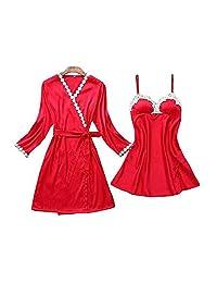 Chinashow Womens Satin Pajamas Set Sexy Ice Silk Suit Set Sleepwear/Nightwear Clothes, Red #E