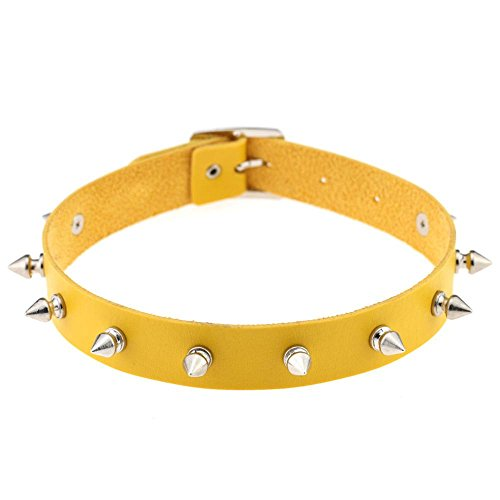 ArMordy Punk Lady Gothic Leather Choker Heart Chain Spike Rivet Buckle Collar Necklace [ Yellow ] (Yellow Tiffany Necklace)