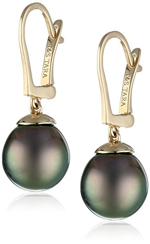 14k Yellow Gold Natural Color AA Quality Tahitian Cultured Pearl Leverback Earrings (9-10mm) 14k Yellow Gold Natural