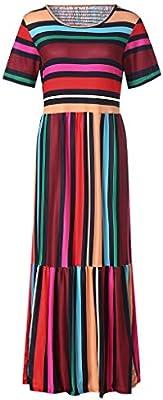 SMILEQ Vestido de Las Mujeres Boho Camisa Hippie Ocasional Falda de Las señoras Retro Rainbow Print Loose Midi Vestido (L: Amazon.es: Deportes y aire libre
