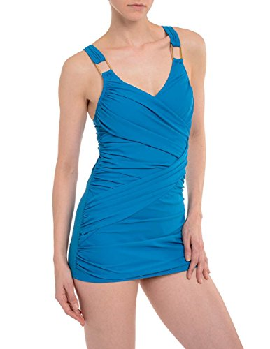 Spanx 2367 Drape One Piece Swimsuit Size 12 in Blue