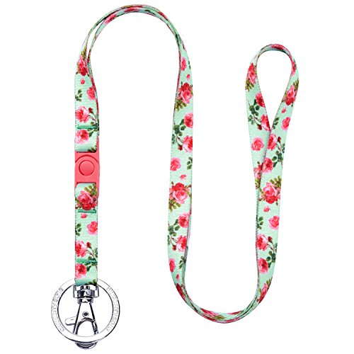 Blueberry Pet Spring Scent Inspired Floral Rose Print Turquoise Women Fashion Non Breakaway Lanyard Keychain for Keys/ID Card/Badge Holder, 1/2 Wide