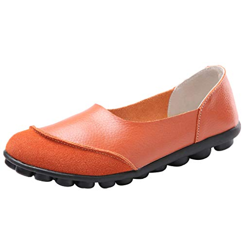 Toimothcn Women' Casual Slip On Flat Shoes Soft Bottomed Driving Single Shoes Loafers(Orange,US:7)