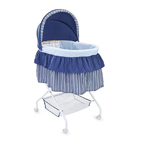 Big Oshi Madison Newborn Baby Bassinet - Bassinet for Boys or Girls - Perfect for Indoor Bedside Napping – Removable Canopy Cover – Includes Mattress Pad and Sheet, Navy