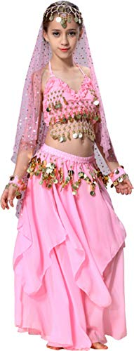 Pink Genie Costume Kids Girls Arab Princess Belly Dance School Outfits 4T 4 5 6 7 8 10 12 14 -