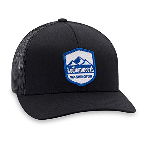 Leavenworth Hat - PNW Trucker Hat Baseball Cap Snapback Golf Hat (Black)