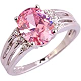 Amethyst Pink Blue White Gemstone Women AAA Silver Ring Size 6 7 8 9 10 11 12 13#by pimchanok shop (9, 414 Pink Topaz)