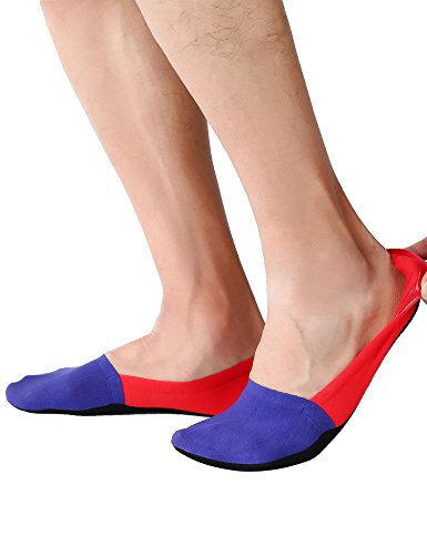 Joulli Mens No Show Non Slip Low Cut Invisible Boat Liners Casual Loafer Socks 6 Pairs Red&Blue,One Size (Airport Socks)