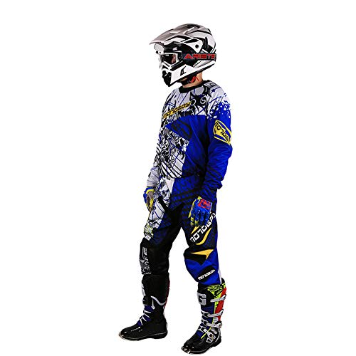 MOTO-BOY Motorcycle Off-Road Racing Suits,2019 Breathable Mesh Leather Jersey and Pants for Men from (M, Blue)