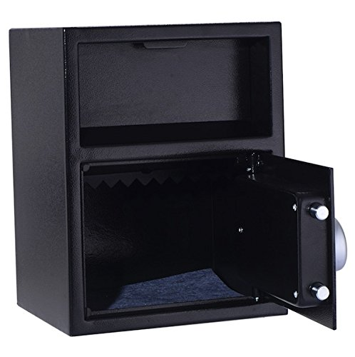 Digital Safe Box Security Deposit Drawer Depository Drop Slot Load Vault Lock Box Cash Money Jewelry Gun Book Digital PIN Lock And Key Wall Or Cabinet Mount Home Hotel Shop Restaurant Office Use