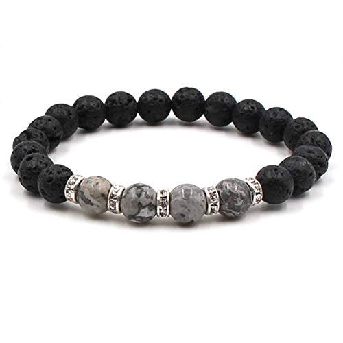 Gabcus 6 Colors Essential Oil Perfume Diffuser 8mm Black Lava Stone Beads Bracelet Crystal Spacer Beaded Bracelet Stretch Yoga Jewelry - (Metal Color: Gray, Length: 18.5cm)