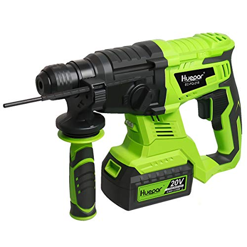 Huepar 20V Brushless Cordless SDS-Plus Rotary Hammer Drill, 3 Modes Hammer Drills for Concrete with Variable Speed and Adjustable Handle, EC-FQ-218 (Lithium-Ion Battery, Charger and 3 Bits Included) 1/2' Sds Plus Hammer