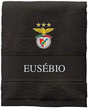 Benfica Stars Logo BgEurope SL Benfica Personalized Black Bath Towel 100 x 150cm