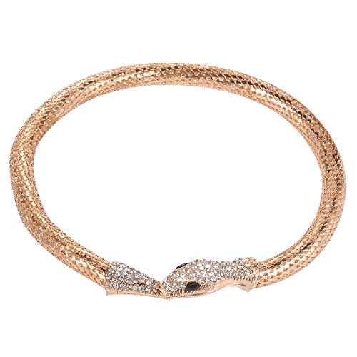 Lux Accessories Gold Tone Rhinestone Curved Stretch Bangle Retro Snake Necklace