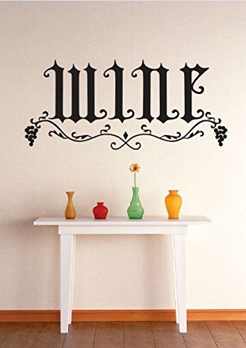 Vinyl Wall Decal Sticker : Wine Grapevine Kitchen Dining Image Quote Bedroom Bathroom Living Room Picture Art Peel & Stick Mural Size: 12 X 30 Inches Color: Black