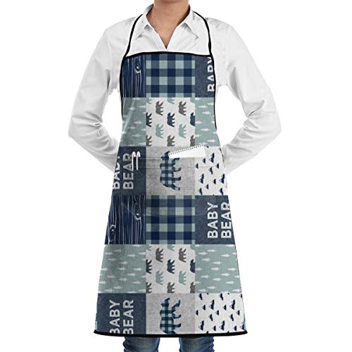 HOBY Kitchen Aprons 3 Small Scale - Baby Bear Patchwork Quilt Top (Navy and Dusty Blue) (90) - Navy C18BS_26924 Adjustable Bib Apron with Pockets 28.3x20.5inch