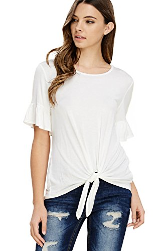 Ruffle Shirt Stretch (Annabelle Women's Casual Short Sleeve Knot Tie Front Loose fit Tee T-Shirt Blouses Off White Large T1200)