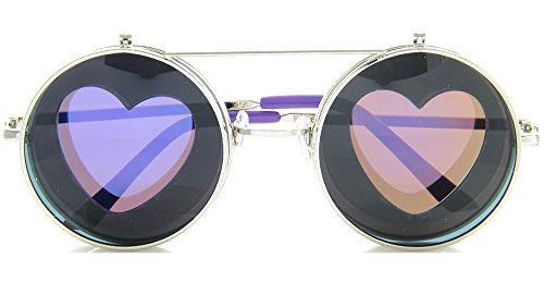 Round Sunglasses Heart Silhouette Flip Up Hippie Sunglasses (Purple, - Sunglasses Fun
