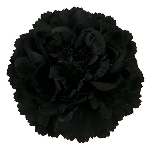 HC-01 Floral Fall Peony Flower Hair Clip Flamenco Dancer Pin up Flower Brooch (Black)