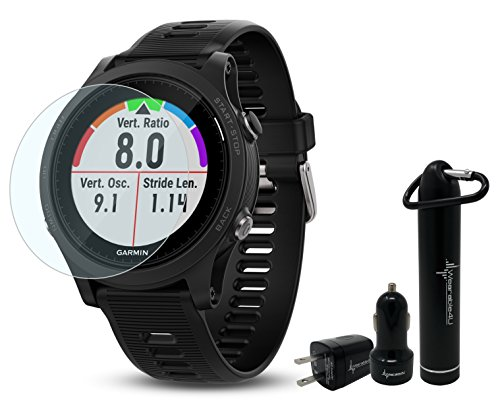 Garmin Forerunner 935 GPS Multisport Watch Ultimate Bundle | Includes Garmin Forerunner 935 Watch, HD Glass Screen Protector, Wearable4U Power Bank, Wearable4U Car / Wall USB Charging Adapters | by Wearable4U
