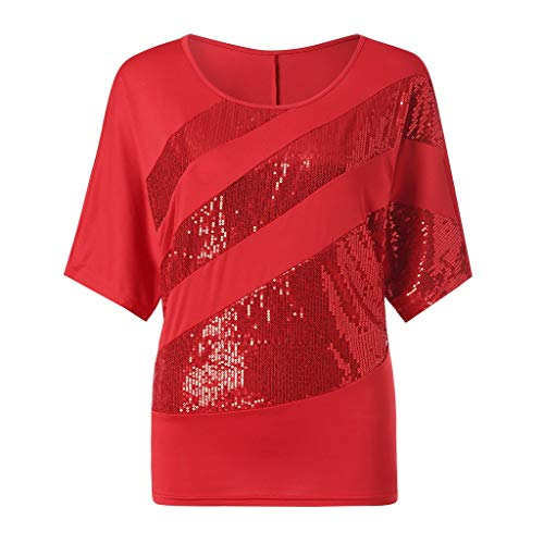 Women's Fashion T Shirt Sequin Ladies Causel Fourth of July T-Shirt Top Cold Shoulder Blouses for Women Plus Size Red ()