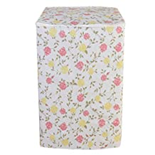 Vosarea Washing Machine Cover Top Load Automatic Washer Dryer Cover Waterproof Dustproof Anti-Splash 54x54x82cm (Red Yellow Rose Flower Pattern)