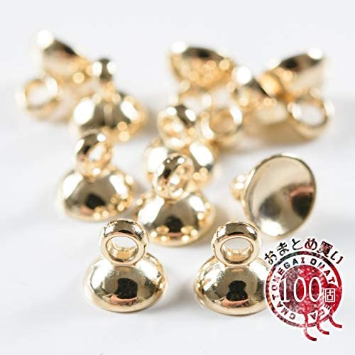 紗や工房 ガラスドームの蓋 シンプル ゴールド 6mm 100個 100ヶ ハンドメイド アクセサリーパーツ