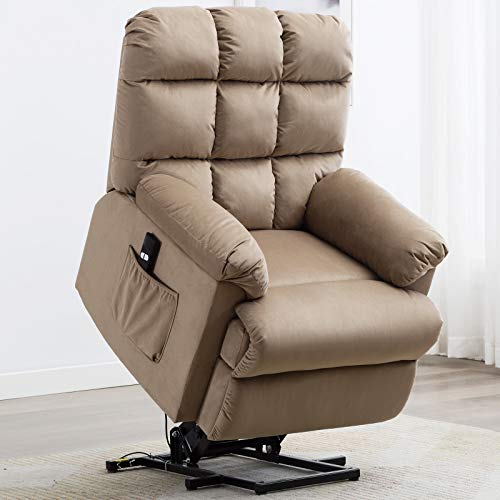 ANJ Power Lift Recliner Chair for Elderly, Heavy Duty and Safety Motion Lift Chair Reclining Mechanism, Antiskid Fabric Living Room Chair with Overstuffed Back and Arm, Mocha