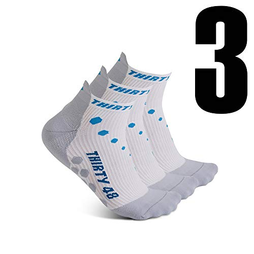 Thirty 48 Compression Low-Cut Running Socks for Men and Women (Small - Women 5-6.5 // Men 6-7.5, [3 Pairs] Blue/White) by Thirty 48 (Image #1)